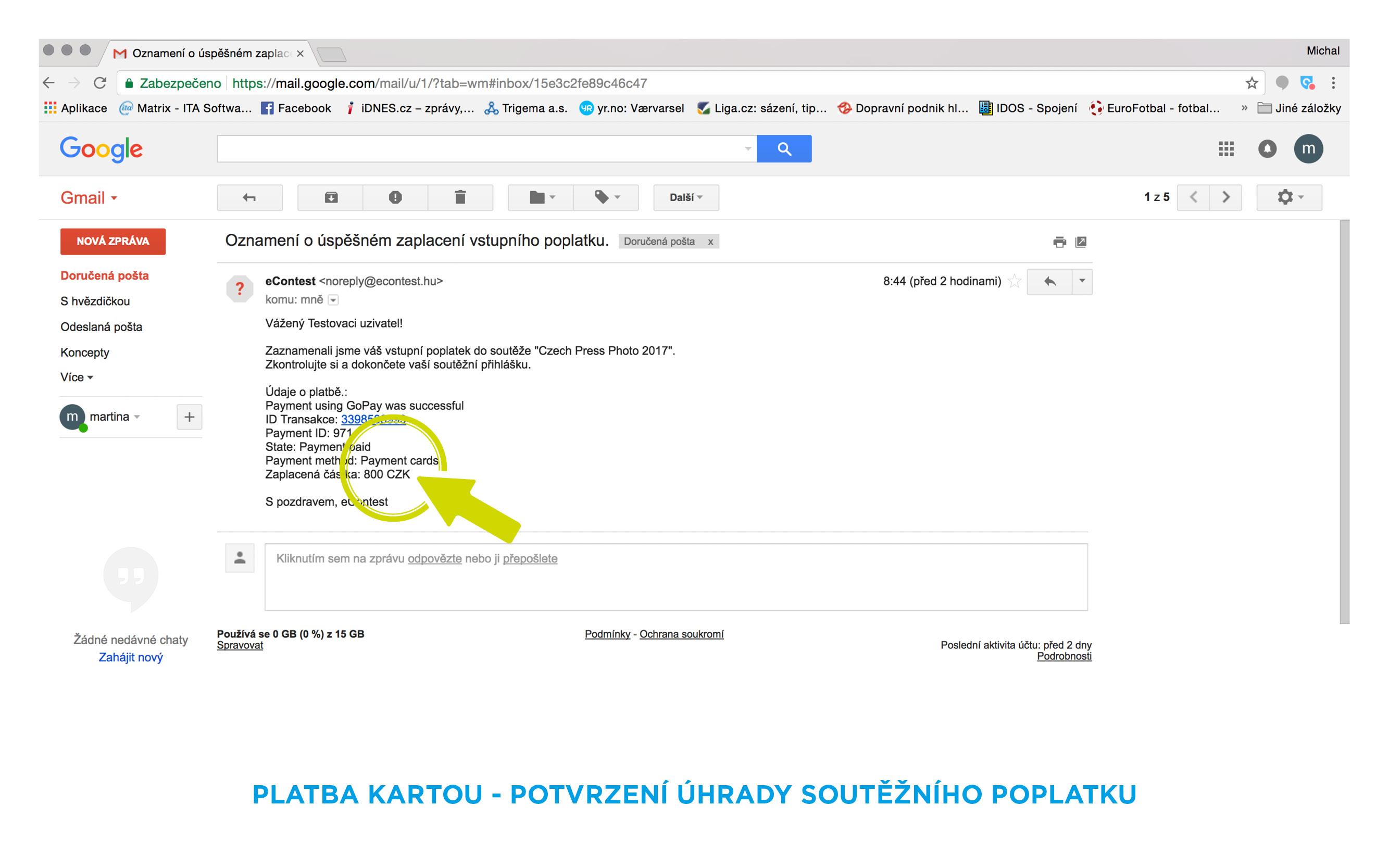 potvrzení platby - email